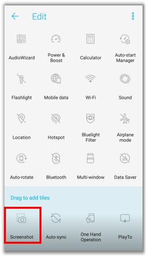 Screenshot con smartphone Asus