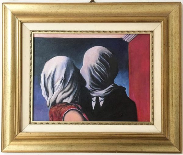 """Olio su Tela: """"Les Amants"""" copia del dipinto di René Magritte"""