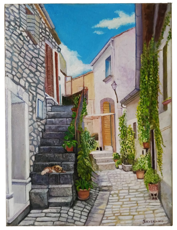Vendita dipinti a olio on line - Scorcio di Pietralcina